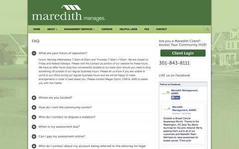 Screenshot of FAQ Page maredithmgmt.com - Maredith Management, LLC  » FAQ - captured Oct. 27, 2014