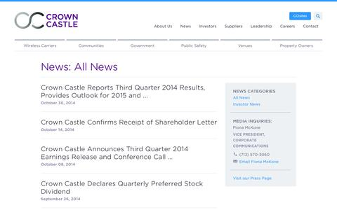 Screenshot of Press Page crowncastle.com - Crown Castle: News - captured Nov. 3, 2014