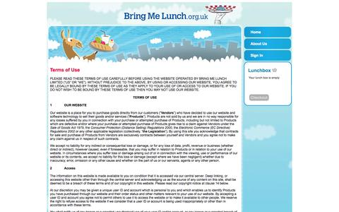 Screenshot of Terms Page bringmelunch.org.uk - Terms Of Use - captured Oct. 5, 2014