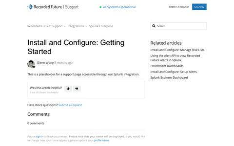 Screenshot of Support Page recordedfuture.com - Install and Configure: Getting Started – Recorded Future: Support - captured Aug. 4, 2018
