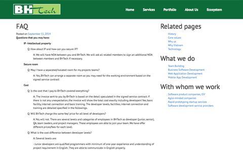 Screenshot of FAQ Page bhtech.com.vn - FAQ | BHTech Co. Ltd. - captured Nov. 2, 2014
