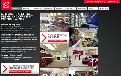 Screenshot of Home Page About Page k2space.co.uk - Office design, fit out & furniture company - London & UK - K2 Space - captured Sept. 30, 2014