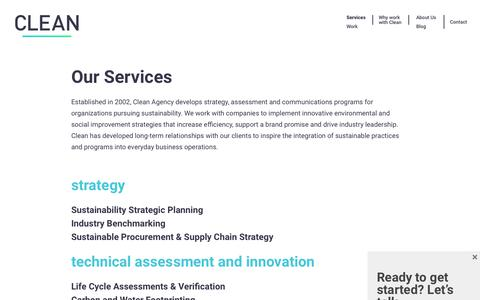 Screenshot of Services Page cleanagency.com - Clean Agency Sustainability Consulting Los Angeles: Services - captured July 18, 2018