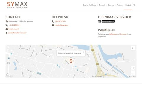 Screenshot of Contact Page symax.nl - Contact - SYMAX - captured Sept. 21, 2018