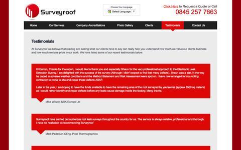 Screenshot of Testimonials Page surveyroof.co.uk - Testimonials - Surveyroof - captured Oct. 3, 2014