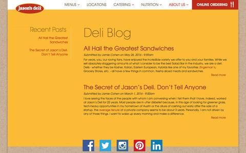 Screenshot of Blog jasonsdeli.com - Deli Blog | Jason's Deli - captured Aug. 7, 2016