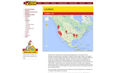 Screenshot of Locations Page fosterfarms.com - foster Farms - captured Sept. 24, 2014