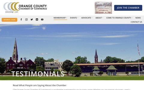 Screenshot of Testimonials Page orangeny.com - Testimonials | Orange County Chamber of Commerce - captured Dec. 21, 2018
