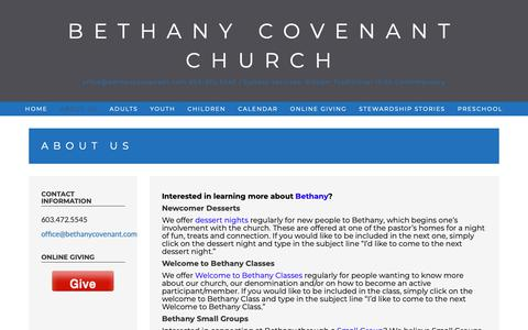 Screenshot of About Page bethanycovenant.com - About Us – Bethany Covenant Church - captured Dec. 18, 2018