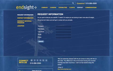 Screenshot of Contact Page FAQ Page endsight.net - Request Information | Endsight - captured May 12, 2017