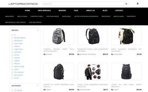 Screenshot of Home Page laptopbackpack.org - laptop backpack: Compare Backpacks, Bags & Cases, Carrying Cases, Kids' Backpacks and Briefcases at Laptopbackpack.org - captured Dec. 3, 2018