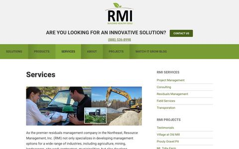 Screenshot of Services Page rmirecycles.com - Services | Resource Management Inc. - captured Oct. 22, 2017