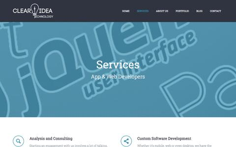 Screenshot of Services Page clearidea.us - Our services include Analysis, App Development, UX Design, and Support - captured Oct. 2, 2014