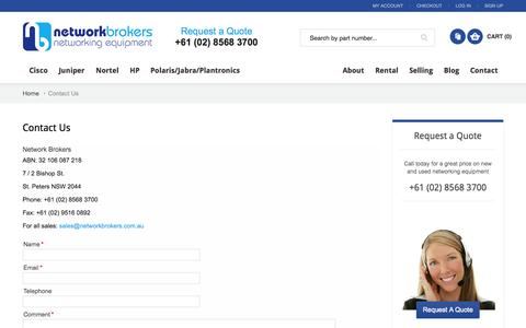 Screenshot of Contact Page networkbrokers.com.au - Contact Us  - Network Brokers - captured Oct. 26, 2014