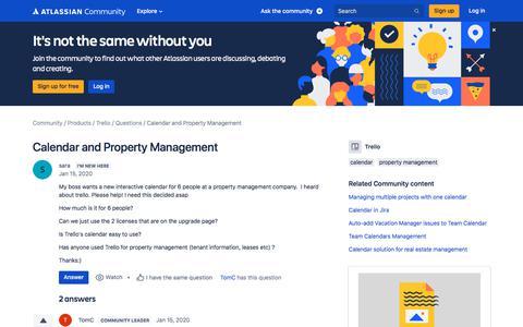 Screenshot of FAQ Page atlassian.com - Calendar and Property Management - captured Feb. 8, 2020