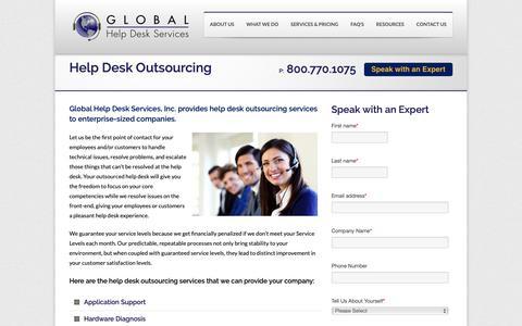 Screenshot of Services Page ghdsi.com - Help Desk Outsourcing | Outsourced IT Support | Help Desk - captured Sept. 28, 2018