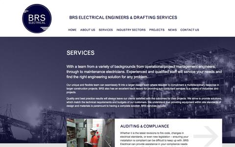Screenshot of Services Page brs-electrical.com.au - Services Archive - BRS Electrical Engineers & Drafting Services - captured Sept. 23, 2017