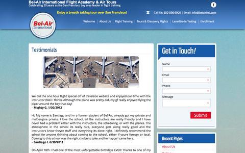 Screenshot of Testimonials Page belairintl.com - Bel Air - Testimonals - captured Oct. 5, 2014