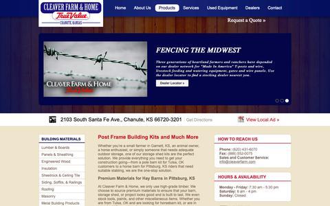 Screenshot of Products Page cleaverfarm.com - Pole & Horse barn Kits Tulsa OK | Storage shed & Garage Kits Garnett KS | Cleaver Farm & Home - captured Sept. 28, 2018