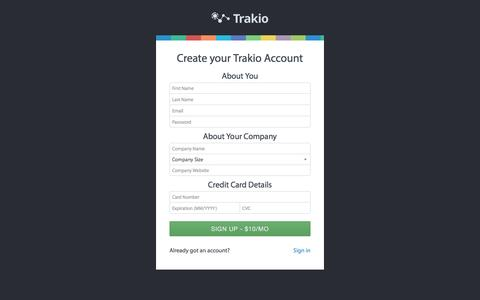 Screenshot of Signup Page trak.io - Registration trak.io Dashboard - captured Dec. 18, 2015