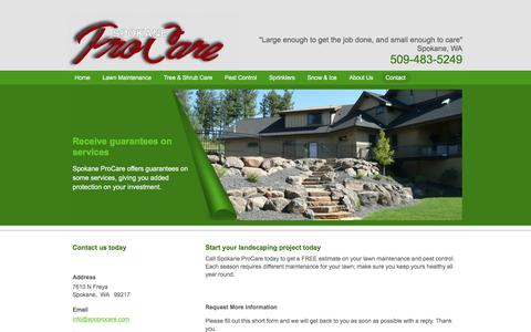 Screenshot of Contact Page spokaneprocare.com - Contact Spokane Pro Care, WA | Lawn Maintenance & Pest Control Services - captured Nov. 14, 2017