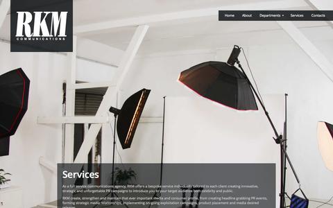 Screenshot of Services Page rkmcom.com - RKM Communications | London PR Agency | Entertainment PR, Fashion PR, Beauty PR - captured Oct. 26, 2014