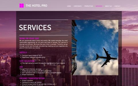 Screenshot of Services Page thehotelpro.com - Mysite | SERVICES - captured Oct. 20, 2018