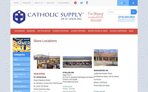 Screenshot of Locations Page catholicsupply.com - Store Locations - captured June 28, 2017