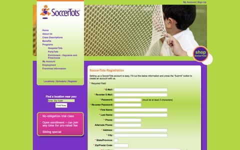 Screenshot of Signup Page soccertots.net - SoccerTots | Children Soccer | Youth Soccer | Toddler Soccer | Soccer for Kids - captured Sept. 30, 2014