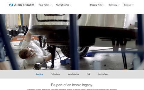 Screenshot of Jobs Page airstream.com - HR Careers Overview | Airstream - captured March 10, 2018