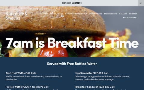 Screenshot of Menu Page balancecafe.com - Cafe MenuBalance Café & Smoothies - captured Oct. 5, 2018