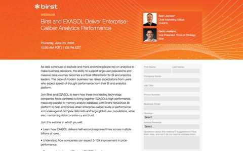 Screenshot of Landing Page birst.com - Birst | Birst and EXASOL Deliver Enterprise-Caliber Analytics Performance - captured July 25, 2016