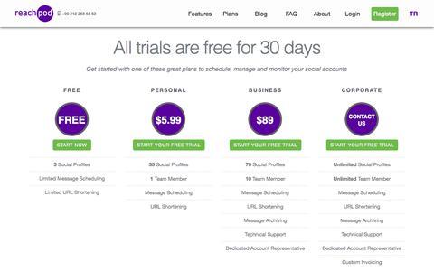 Screenshot of Pricing Page reachpod.com - Social Media Management Tool Pricing | Reachpod - captured Nov. 3, 2014