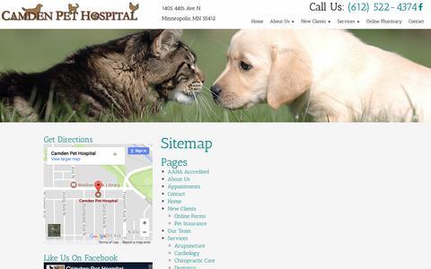 Screenshot of Site Map Page camdenpet.com - Sitemap | Camden Pet Hospital - captured July 13, 2017