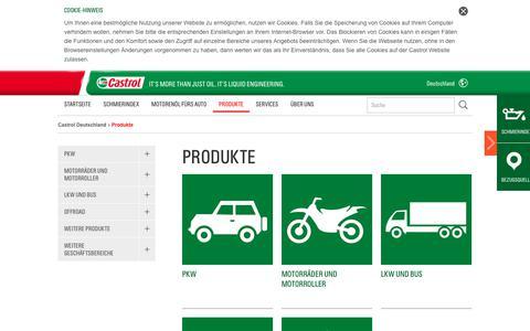 Screenshot of Products Page castrol.com - Produkte | Castrol Deutschland | Castrol – Motoröl, Motorenöle, vollsynthetisches Öl, Getriebeöl und Schmierstoffe - captured Oct. 28, 2017