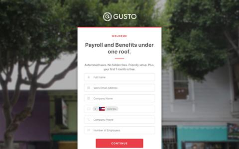 Screenshot of Landing Page gusto.com - 1-Month Free Trial | Gusto - captured Aug. 19, 2016