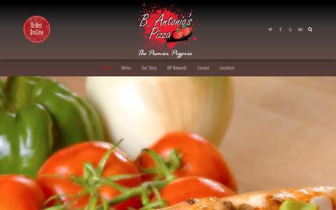 Screenshot of Home Page bantonios.com - B. Antonio's Pizza › The Premier Pizzeria - captured Jan. 26, 2016