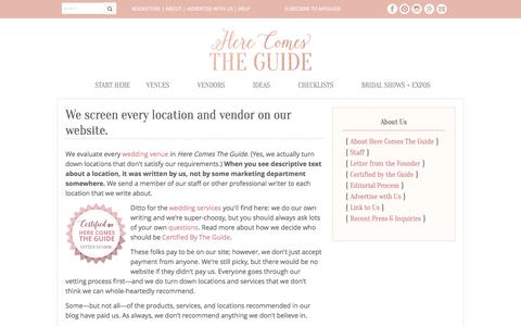 Screenshot of Locations Page herecomestheguide.com - Editorial Process: Wedding Professionals and Wedding Venues in Here Comes The Guide - captured May 19, 2017