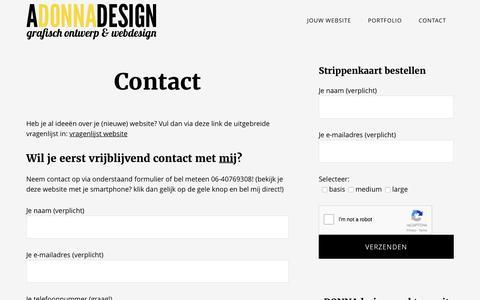 Screenshot of Contact Page adonnadesign.nl - Contact met aDONNAdesign - captured July 27, 2016