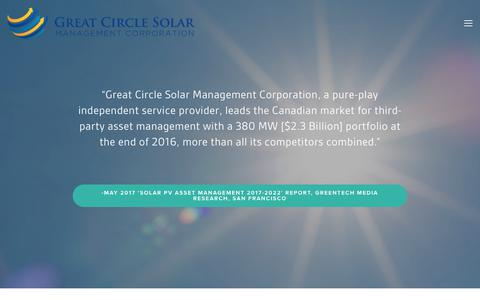 Screenshot of Home Page greatcirclesolar.ca - Great Circle Solar Management Corporation - captured Sept. 16, 2017