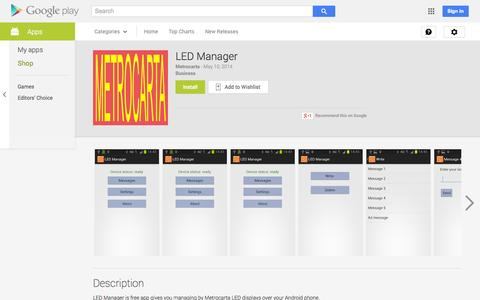 Screenshot of Android App Page google.com - LED Manager - Android Apps on Google Play - captured Oct. 27, 2014