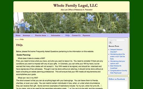Screenshot of FAQ Page wholefamilylegal.com - FAQs   Whole Family Legal, LLC - captured Oct. 27, 2014