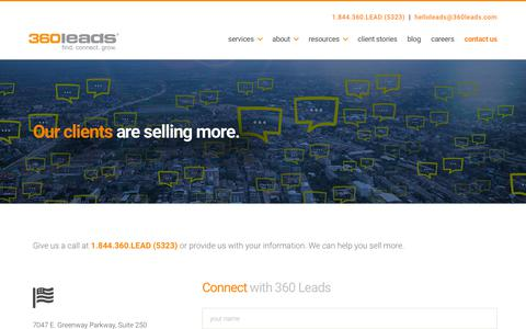 Screenshot of Contact Page 360leads.com - Contact Us | B2B Lead Generation Agency | 360 Leads - captured Feb. 19, 2020