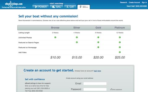 Screenshot of Pricing Page eboatlistings.com - Plans and Prices - eBoat Listings - captured Oct. 28, 2014