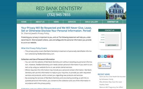 Screenshot of Privacy Page redbankdentistry.com - Dr Sherrod Jewell's Privacy Policy - Red Bank New Jersey Dentist – Reconstructive Dentist in Red Bank NJ | Red Bank Dentistry - captured Oct. 26, 2014