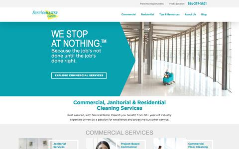 Screenshot of Home Page servicemasterclean.com - Commercial, Janitorial and Residential Cleaning Services | ServiceMaster Clean - captured July 23, 2017
