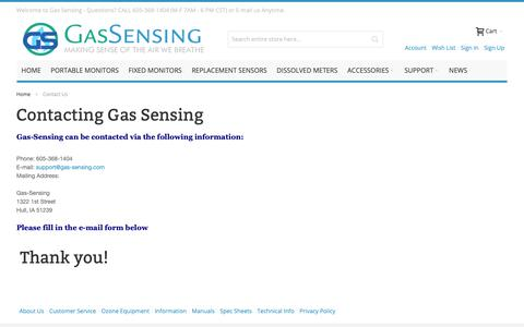 Screenshot of Contact Page gas-sensing.com - Gas Sensors Contact Us  - Gas-Sensing.com - captured Dec. 5, 2018