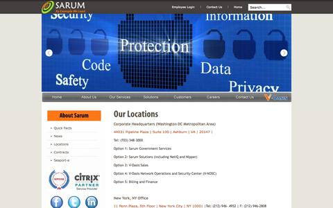 Screenshot of Contact Page Locations Page sarum.com - Sarum LLC - An IT Services Company - Locations - captured Oct. 23, 2014