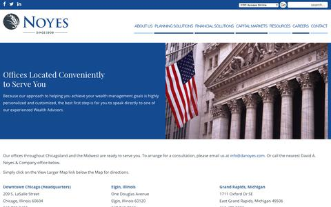 Screenshot of Contact Page Locations Page danoyes.com - Contact Us - Noyes - captured July 29, 2017