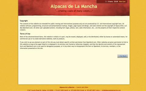 Screenshot of Terms Page alpacasdelamancha.com - Copyright & Terms of Use - captured Sept. 26, 2018